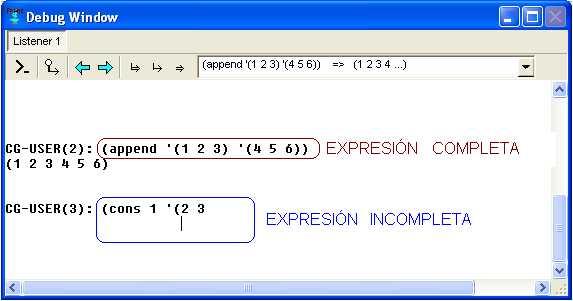 Expresiones Lisp en la ventana de depuración